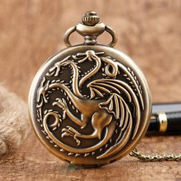 Targaryen dress online shopping - lock pendant necklace Steampunk Game of Thrones House Targaryen Quartz Pocket Watch Awesome Dragon Fire and Blood Man Women Necklace Pend