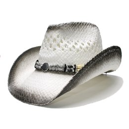 silver wide brim hat Australia - LUCKYLIANJI Retro Women's Men's Summer Straw Beach Wide Brim Cowboy Western Cowgirl Hat Hollow Out Wood   Alloy Bead Band (58cm)