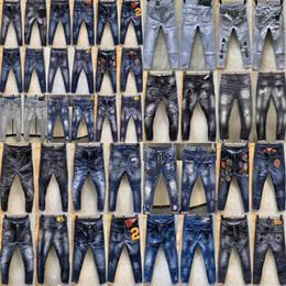 2020 Marca D2 Mens Denim Jean Bordados Calças Buracos D2 Jeans Zipper calças dos homens Calças justas homens jeansdsquared2 ganga 021d1 em Promoção