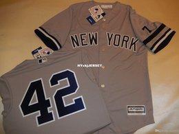 $enCountryForm.capitalKeyWord Australia - Cheap custom New York #42 MARIANO RIVERA 1995 Baseball Jersey W MANTLE #7 GRAY New Mens stitched jerseys Big And Tall SIZE XS-6XL For sale
