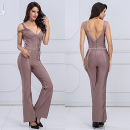 Women Fashion Jumpsuit Australia - Fashion Summer Women Elegant Jumpsuits Long Sexy Deep V-Neck Backless overalls Party Club Bodysuit Jumpsuit Slim Sleeveless Rompers Casual