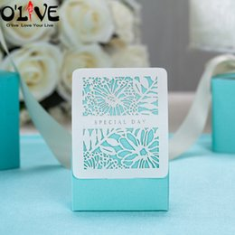$enCountryForm.capitalKeyWord Australia - 50 Pcs Romantic Blue Wedding Box Gift Baby Shower Candy Box Wedding Party Favors Cardboard Boxes Bonbonniere Dragees Bags