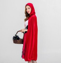 women s fancy dress Australia - Halloween Womens Dresses Cosplay Little Red Riding Fancy Halloween Uniform For Women Hood Dresses Size S-XL Available