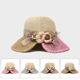 $enCountryForm.capitalKeyWord NZ - Fashion Design Flower Wide Brimmed Sun Hat Summer Hats For Women Outdoor Sport Beach Sun Straw Hat Leisure Sunbonnet