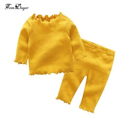 Infant Knits Australia - Tem Doger Baby Girl Clothing Sets Spring Autumn Infant Newborn Girls Clothes Knitted Solid Top+pants 2pcs Bebes Outfits Set Q190521
