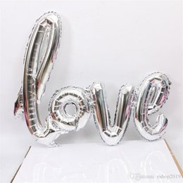 decorations anniversary NZ - Ligatures LOVE Letter Foil Balloon Anniversary Wedding Valentines Party Decoration Balloon Red Colors Champagne Colors Free Shipping