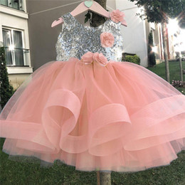 tulle lace styles for children Australia - Lace Flower Girls Dresses for Wedding Events Party Elegent Sliver Sequins Baby Girls Princess Dress Children New Year Vestidos