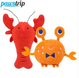 Ingrosso Pawstrip 1 pz Morbido Peluche Giocattoli Cartoon Lobster Granchio Cane Squeaky Giocattoli Interactive Pet Puppy Giocattoli Per Cani di Piccola Taglia