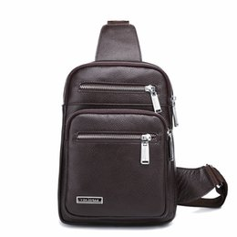 bag man diagonal UK - Pop2019 Leather Genuine Male Cowhide Single Shoulder Chest Package Diagonal Business Affairs Briefcase Man Bag Messenger