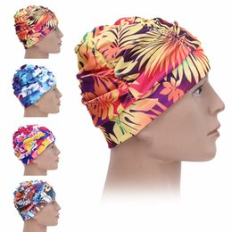 b5d9a260d18 New Swimming Caps Printed Long Hair Cap Waterproof Ear Protection  Comfortable Beanie Hat Adult Woman Warm Swimming Hat