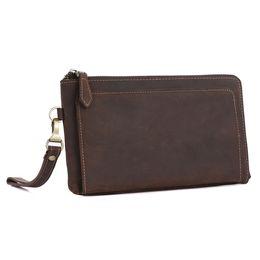 Handmade Zipper Bag Australia - Wholesale Handmade Genuine Leather Wristlet Wallet Vintage Wrist Clutch Bag Men Purse with Metal Zipper Buckle and Leather Puller LX4059