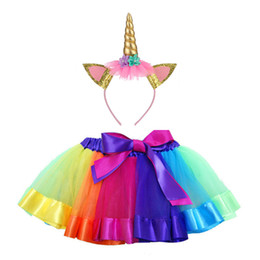 $enCountryForm.capitalKeyWord Australia - hot sale Girls rainbow Tutu skirt with unicorn headband children unicorn dress Girls Birthday Party Dress kids dance skirt 1-14Y