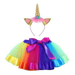 Vente en gros Vente chaude filles arc-en-jupe Tutu avec licorne bandeau enfants Licorne robe filles fête d'anniversaire robe enfants danse jupe 1-14Y