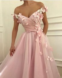 4c0e00d792b Fitted Pink Prom Dresses With Flower Floral Off Shoulder A Line Tulle Pearl  Long Graduation Dress 2019 evening ceremony Dresses For Women
