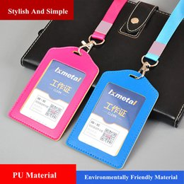 id badge case holder Australia - Vertical PU Leather Work Pass Credit ID Card Holder Name Badge Case With Lanyard 10 Colors