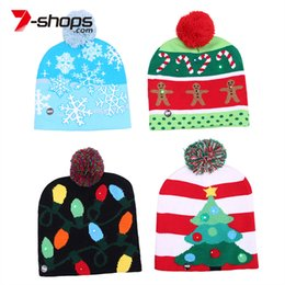 7f6e4224d7b8c 7-shops 2018 New Funny LED Knitted Christmas Hat Kids Adults Warm Hat New  Year Christmas Decoration Party Tree Snowflake