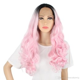 China Hot Selling Handmade Two Tones Black Roots Ombre Pink Long Body Wave Hair High Temperature Fiber Glueless Synthetic Lace Front Wig For Women supplier blonde two tone wigs suppliers