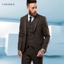 $enCountryForm.capitalKeyWord Australia - Custom Made tweed Wool Brown Herringbone men suit British style Modern Blazer 3 Pieces Skinny Men Suits (Jacket+Pants+vest) 2018