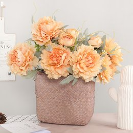 $enCountryForm.capitalKeyWord Australia - Luxury Large Size King Peony Bunch Artificial Flowers Table Decoration Flores Artificiales Silk White Peonies Fake Flower