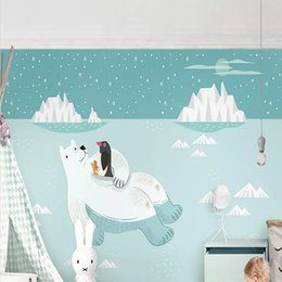 wallpaper cartoons Australia - Custom large mural 3D wallpaper Nordic cartoon fashion creative polar bear iceberg mural TV back wall decor deep 5D embossed