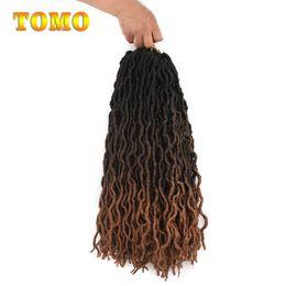 $enCountryForm.capitalKeyWord Australia - TOMO Goddess Faux Locs Crochet Hair Black Brown Blonde Ombre Crochet Braids Synthetic Braiding Hair Extensions Woman dreadlocks 24Roots pack