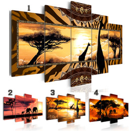 $enCountryForm.capitalKeyWord Australia - Hot Sell( No Frame ) Canvas Print Modern Fashion Wall Art the African Animals Sunset Landscape Elephant Giraffe for Home Decoration Choose C