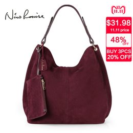 $enCountryForm.capitalKeyWord NZ - 2019 Fashion Nico Louise Women Real Split Suede Leather Hobo Bag Design Female Leisure Large Shoulder Bags With Wallet Travel Casual Handbag