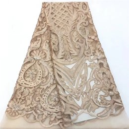 Wholesale sequins fabric yard for sale - Group buy VILLIEA African Lace Fabric Gold Sequins High Quality Embroidery Lace Embroidery Tulle Lace Fabric For Party Dress Yards