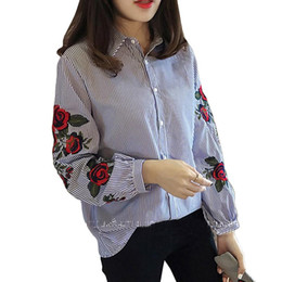 floral fashion tops Canada - Fashion-Women Blouses Ladies Floral Embroidery Blouse Autumn Long Sleeve Fashion Casual Shirt Women Camisas Femininas Womens Tops White