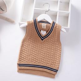 $enCountryForm.capitalKeyWord NZ - 2019 Preppy Style Autumn Baby Boys v-Neck Knit vest Kids Pullover student Sweaters Vest Children Clothing Sleeveless Spring Coat