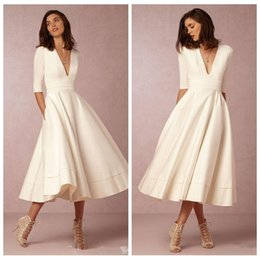 Wholesale V Neck Half Sleeves A Line Prom Dresses Tea Length Custom Short Special Occasion Party Gowns Cheap Ladies Formal Party Gowns