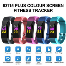 China ID115 Plus Smart Bracelet Fitness Tracker Smart Watch Heart Rate Watchband Smart Wristband For Apple Android phones with Retail Box DHL cheap smart watch retail box suppliers