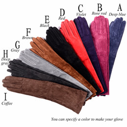 $enCountryForm.capitalKeyWord Australia - 40cm Women's Ladies 100% Real leather Suede Leather party Opera long Elbow evening gloves Overlength Gloves