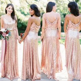 cheap bohemian prom dresses Canada - Bohemian Sexy Gold Sequin Bridesmaid Dresses 2019 Cheap Spaghetti Straps V Neck Long Formal Evening Prom Gowns Maid of Honor Dress Custom