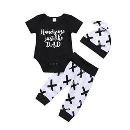 $enCountryForm.capitalKeyWord Australia - 3Pcs Stylish Newborn Baby Boys Cotton Top Romper Pants Leggings Outfits Set Clothes