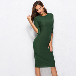 Female Dresses NZ - 2019 Summer Dresses Casual O-neck Ladies' Tops Sleeve Thin Slim Women Dress Green Dresses Female Clothing