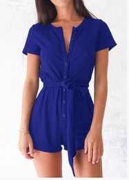 Shirts Wear Lace Shorts Australia - New women's fashion jumpsuit casual wear sexy short-sleeved button overall jumpsuit jumpsuit female lace-up shirt S-XL