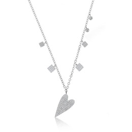 China 2019 new arrived 100% 925 sterling silver Valentines gift for girlfriend micro pave cz heart dangle charm necklace 925 cheap valentine gifts for girlfriend suppliers