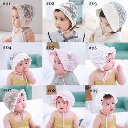 Toddler Bonnets Australia - New Cute Toddlers Infant Baby Girls Flower Princess Sun Hat Cap Summer Lace Hat Bonnet Ruffled Lace Flower Caps 3-18M