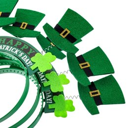 deep hats Australia - 8 Pieces St. Patrick's Day Snap-On Headband Green Head Boppers- Shamrock Clover Top Hat - Party Costume Decorations