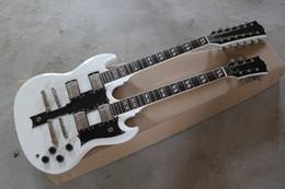 Neck Guitar Ebony Australia - Free Shipping wholesale New Arrival 6 + 12 Strings Double Neck Custom Guitar SG 1275 White Electric Guitar