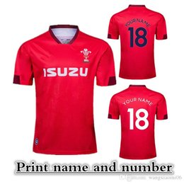 Wholesale 2019 Welsh RUGBY HOME JERSEY size S XL Welsh Rugby League jersey Print name and number Top quality