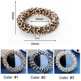 ring coils Australia - Women Girl Telephone Wire Cord Gum Coil Hair Ties Girls Elastic Hair Bands Ring Rope Leopard Print Bracelet Stretchy Hair Ropes