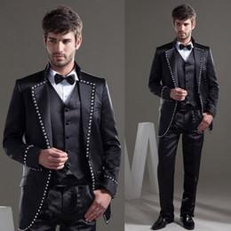 $enCountryForm.capitalKeyWord NZ - Black Suits Work Office Business Party 3 Piece Tuxedos Groomsmen Mens Dinner Blazer Suits Jacket + Vest + Pants + Tie