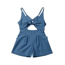 Wholesale New Kids Baby Girl Solid One piece Bodysuits Backless Jumpsuit Outfit Summer Clothes