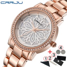 780a68d66 Crrju Women Watches 2018 Top Fashion Charms Rose Gold Women Watch Diamond  Ladies Wristwatch relojes mujer 2019