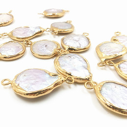 $enCountryForm.capitalKeyWord Australia - Gold Plated Mother of Pearl Shell Pendant Connectors, Double Bails Pendant connector Pearl shells charms Jewelry Findings