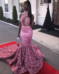 Black Flower Girl Dress Chiffon Australia - Long Pink Mermaid Prom Dresses 2019 New Arrival High Neck Beaded Lace Illusion Top 3D Flowers Africa Black Girl Graduation Dresses