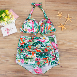 ff8f6d469e6f8 Plus Size Swimwear for Women Swimsuit Bikini Set 2019 Vintage Fashion Print  Swim Wear High Waist Bathing Suit Maillot de Bain Beach Biquini