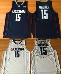 jersey basketball black Australia - Men NCAA Uconn Huskies College Jerseys 15 Kemba Walker Basketball jerseys Black white stitched jersey S-2XL Top Quality shirts Cheap Sale